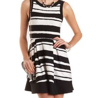 Asymmetrical Stripe Skater Dress by Charlotte Russe