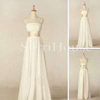 Ruffled Strapless Bowknot Empired Long Bridesmaid Celebrity Cocktail Dress ,Floor length Chiffon Evening Party Prom New Homecoming Dress