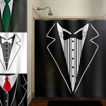 groom tuxedo dinner suit tie mens shower curtain bathroom decor fabric kids bath white black custom duvet cover rug mat window