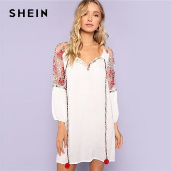 SHEIN White Women Pom Pom Tie Neck Embroidered Mesh Raglan Sleeve Dress Shift Straight Clothes Summer Tunic Rayon Dress
