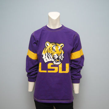 Vintage Long Sleeve Purple and Yellow LSU Tigers Football Jersey T-Shirt - Louisiana State University