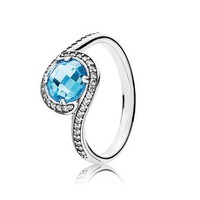 PANDORA Radiant Embellishment Ring, Sky-Blue Crystal & Clear Cubic Zirconia