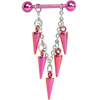 Handcrafted Pink Titanium Spike Dangle Nipple Ring | Body Candy Body Jewelry