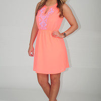 EVERLY: Escaping In Summer Dress: Neon Coral
