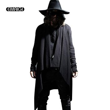 2017 spring autumn men sweater shawls long cardigan knitted coat men's fashion casual sweatercoat punk gothic asymmetry knitwear