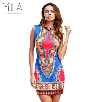 Yilia Women Summer Dress Casual 2017 Short Sleeveless Ladies Sexy African Dresses Dashiki Traditional Print Mini Womens Beach