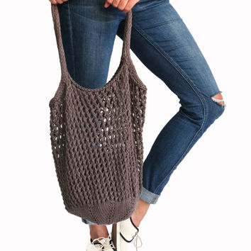 Knit Net Market Tote Shopping Grocery Bag Mesh // Farmers' Market Tote in Rockaway // Many Colors Available