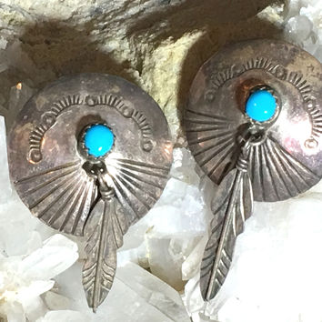Concho Earrings Feathers Turquoise Sterling Silver Pierced Navajo