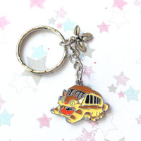 Studio Ghibli Cat Bus Metal Charm, My neighbor Totoro Charm, Anime keychain, Metal Leaf Charm, Cat bus keychain, Anime bag charm, Cute Charm