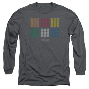 Rubik's Cube - Minimal Squares Long Sleeve Adult 18/1 Officially Licensed Shirt