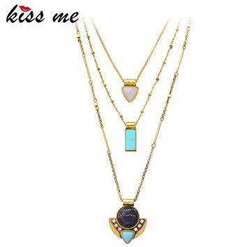KISS ME Brand Synthetic Stone Necklaces& Pendants Fashion Jewelry Multi Layers Necklaces for Women