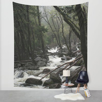 Lost in California - Forest Wall Tapestry, Forest Tapestry, Nature Wall Tapestry, Mountain Stream, Foggy Nature Decor, Mountain Stream