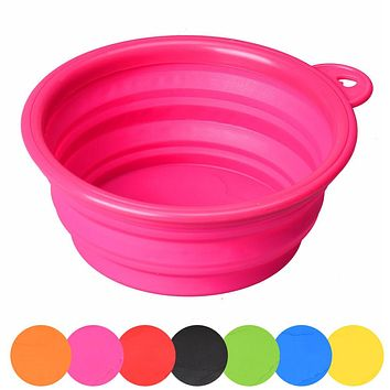 Dog Cat Pet Silicone Collapsible Travel Feeding Bowl Water Dish Feeder  Aug8