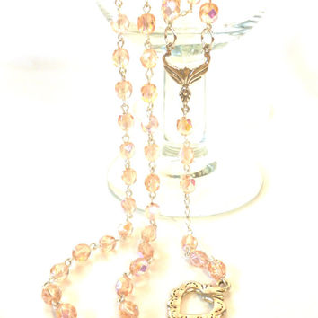 Pink Crystal Rosary Necklace with Silver Milagro Heart Extra Extra Long Rosary Style Necklace