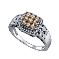 Cognac Diamond Ladies Fashion Ring in 10k White Gold 0.55 ctw