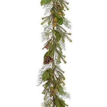 Artificial Magnolia Leaf and Pine Cone Winter Garland - 6' Long