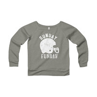 Sunday Funday football party Sponge Fleece Wide Neck Sweatshirt