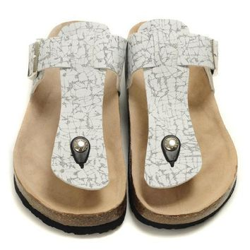 Birkenstock Leather Cork Flats Shoes Women Men Casual Sandals Shoes Soft Footbed Slippers-8