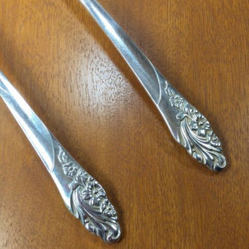 "Oneida Community Silverplated 2 Soup Spoons Pattern ""Evening Star"" Flatware"