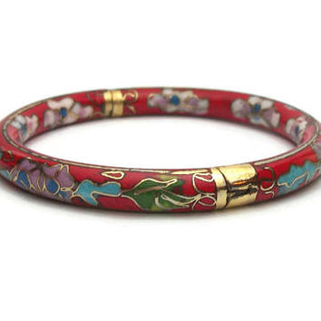 Vintage Red Cloisonne Enamel Hinged Bangle Bracelet - Floral Asian Chinese Cloisonne Blue Purple White Flowers - Size 7 Easy to Put On