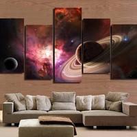 star universe galaxy planets 5 piece pieces canvas panel wall art print picture