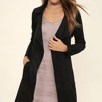 Black Swan Jaida Black Suede Trench Coat