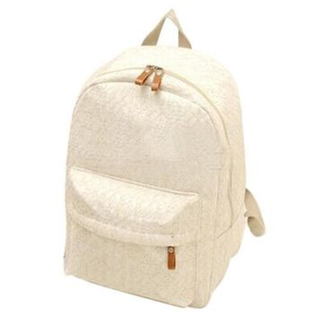 Korean lace hollow casual canvas backpack student school bag for teenagers girls