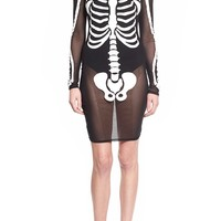 Missguided Sheer Skeleton Print Dress | Nordstrom