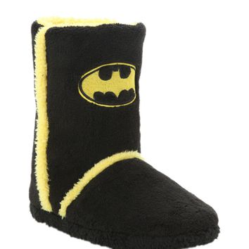 Licensed cool NEW DC  Super Hero Batman BAT LOGO Adult plush Sherpa Boots Slippers S NWT
