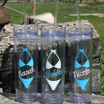 7 Tall Skinny Personalized Bikini Themed Tumblers Wedding Party Gifts, Bride, Bridesmaids