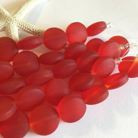 15 mm sea glass beads-red beach glass bead-round drilled beach glass coin bead-puffed beach glass-cultured sea glass -6 pc recycled glass