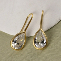 Bridal Earrings, Gold Crystal Earrings, Clear, Bridesmaids Gift, Drop Earrings, Cubic Zirconia, Affordable Gift, Under 20, gift For Women