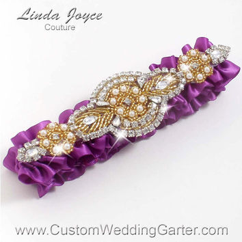 Purple and Gold Vintage Wedding Garter Rhinestone 541 Helio Purple Custom Bridal Luxury Prom Garter Plus Size & Queen Size Available