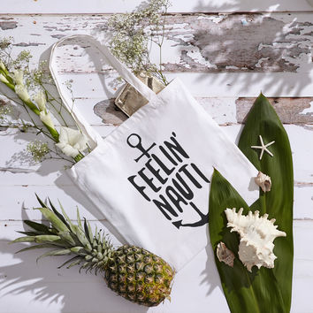 Feelin' Nauti Canvas Tote