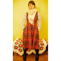 Vintage 70s Red Plaid Maxi Dress with Pockets / Winter / Cozy / Warm / Long Medium / Large