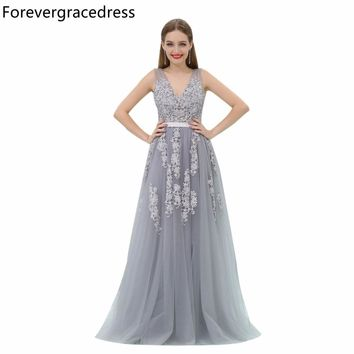 Forevergracedress Gorgeous A Line Prom Dress Sexy V Neck Tulle Long Homecoming Evening Party Gown Plus Size Custom Made