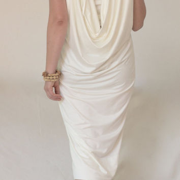 Greek Style Dress / Open Back Dress / Sleeveless Open Back Dress/ Draped Open Back Dress / White Party Dress