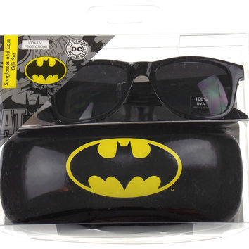Batman Sunglasses & Case Gift Set DC Comics Licensed Black Retro Square 100% UVA