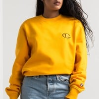 Champion Women's Crew Neck Long Sleeve Fleece Lined Sweatshirt in C Gold