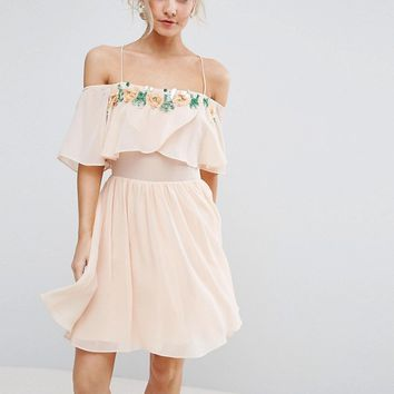 ASOS PETITE Embellished Neckline Double Layer Skater Dress at asos.com