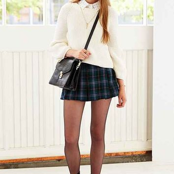 Ecote Plaid Inverted Pleat Mini Skirt