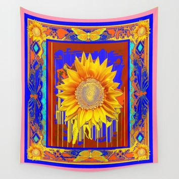 Golden Sunflower Drips & Butterfly in Blue, Coral pink & Brown Pattern Abstract Wall Tapestry by SharlesArt