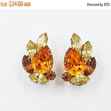 ON SALE Vintage Schoffel & Co. Crystal Clip Earrings, Austria, Cluster Earrings, Gold, Amber, Topaz and Yellow, Prong-Set, Fiery! #b474