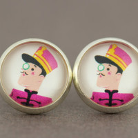 Fake Plugs Stud Earrings : Dapper, Funny, Well-Dressed, Bus Boy, Doorman, Monocle, Uniform, 12mm