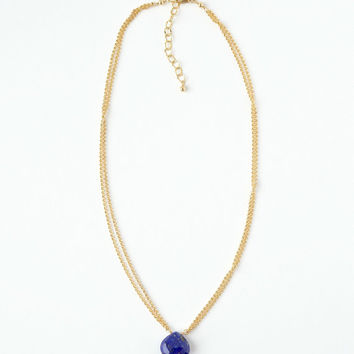 Gold Lapis Necklace, Layered Chain Necklace, 16 Inch