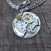 Clockpunk Steampunk Watch Movement Pendant Necklace, Steel Bulova  Watch Movement on Silver Cable Link Chain
