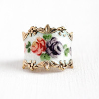 Enamel Rose Band - Vintage Gold Washed Sterling Silver White Guilloche Flower Cigar Ring - Retro Size 5 1/2 Vermeil Vargas Floral Jewelry