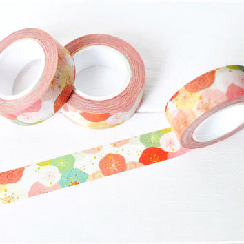 Red Floral Washi Tape. 15mm x 10m. Red Poppy Washi Tape. Flower Washi Tape. Masking Tape. Craft Tape.