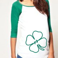 St. Patrick's Day shirt embellished with Clover tee/shirt- Maternity clothes