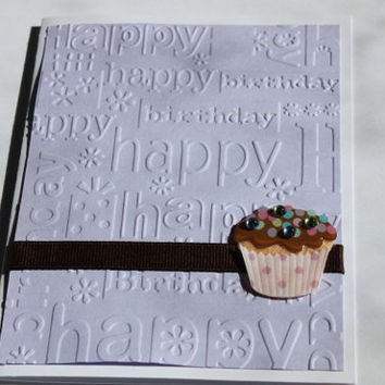 Cupcake Birthday Card, Embossed